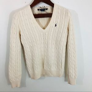 Ralph Lauren Sport Cream Cable Knit V-neck Sweater